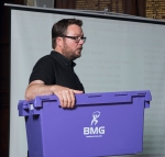Eddie demonstrating storage for use in moving to the New Build